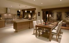 Open plan kitchen/dining/living room. Check out the oven!