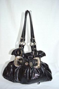 adce7403dfc5 Kathy Van Zeeland Black Faux Patent Leather Handbag Silver Buckle Purse KVZ