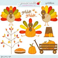 Gobblers Thanksgiving Clipart Commercial Use by JWIllustrations