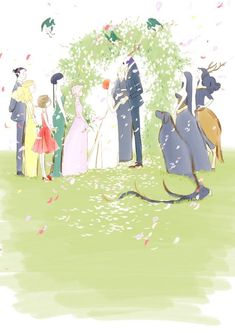 My only complaint is that Merituuli needs to be there helping Lindel to water mirror Skype the wedding. Also, imagine the chaos of the reception afterwards lol Elias Ainsworth, Chise Hatori, Manga Anime, Anime Art, Best Romance Anime, Otaku, The Ancient Magus Bride, Couple Illustration, Kawaii