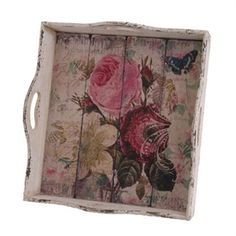 RAZ Imports Vintage Floral Tray #VonMaur - great for my quilt studio's shabby chic style