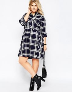 Image 4 ofNew Look Inspire Check Shirt Dress