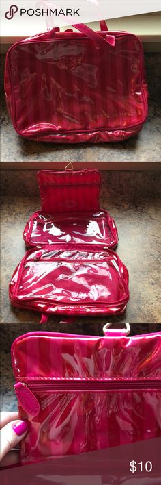 """NWOT Victoria's Secret Makeup/Accessories Bag Brand new, never used. Victoria's Secret makeup and accessories bag. Has three separate compartments, two zipper closure, a hanger to use when bag unzipped. Super cute and functional. Approx dimensions: 8"""" x 10"""" Victoria's Secret Bags Cosmetic Bags & Cases"""