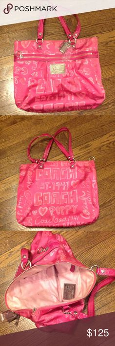 Authentic Coach Purse Bright pink adorable Coach purse, outside is in great condition!! Inside is used. Has all of the originals accessories on it. Coach Bags Totes