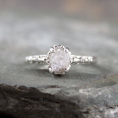 Raw Uncut Rough Diamond Solitaire and 925 Sterling by ASecondTime, $295.00