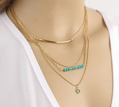New Charm Jewelry Multilayer Choker Chunky Statement Bib Pendant Chain Necklace | eBay