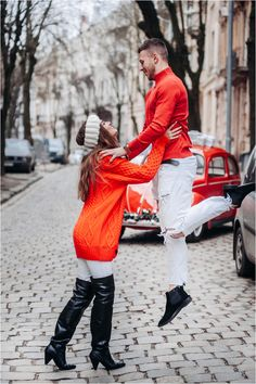 Christmas Love Story - the girl in red sweаter raises her boyfriend in a red roll-neck sweater Roll Neck Sweater, Crazy Love, Christmas Love, Love Story, Boyfriend, Sweaters, Red, Dresses, Fashion