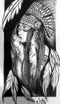 Native American Face Paint, Native American Girls, Native American Pictures, Pencil Art Drawings, Tattoo Drawings, Indian Headdress Tattoo, Indian Girl Tattoos, Girl Face Tattoo, Native Tattoos