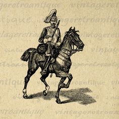 Ancient Horseman Digital Printable Graphic Download Image. Vintage digital graphic download for iron on transfers, making prints, pillows, and other great uses. Real printable antique artwork. This digital image is high quality at 8½ x 11 inches large. Transparent background version included with every graphic.