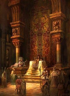 Throne room - love the rich warm color much more than the usual grey tones. Fantasy City, Fantasy Places, Fantasy World, Fantasy Concept Art, Fantasy Artwork, Fantasy Inspiration, Story Inspiration, Throne Room, Sword And Sorcery