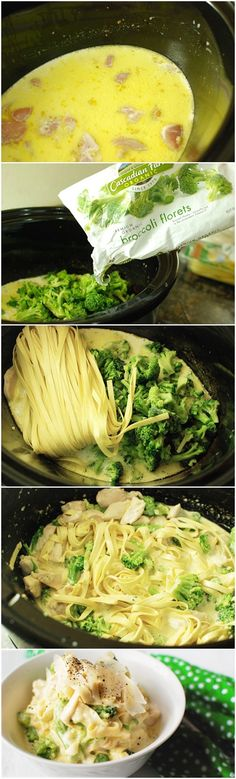 Slow Cooker Chicken Fettuccine Alfredo--2 hours.  ****NEEDS:  1 pint cream, 2 boneless, skinless chicken breasts, 2 overflowing cups broccoli florets (one package Cascadian Farm frozen) and 9 ounces refrigerated fresh fettuccine (one package).