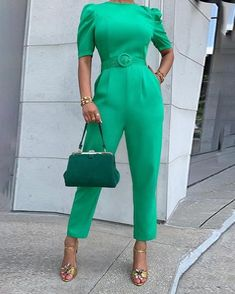 Solid Puffed Short Sleeve Jumpsuit is part of Jumpsuit - Look Fashion, Fashion Outfits, Womens Fashion, Diva Fashion, Gothic Fashion, Look Office, Jumpsuit Outfit, Jumpsuit With Sleeves, Classy Outfits