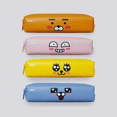 Kakao Friends Character Zipper Pencil Case Bag Pen Storage Stationery PU Leather #kakaofriends