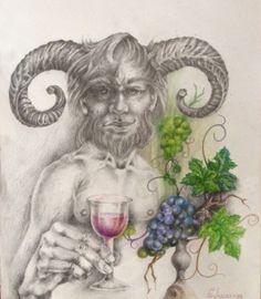 Desenho realizado sobre papel consom, divindade secundária amigo de baco Deus do vinho.