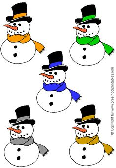 www.preschoolprintables.com / File Folder Game/ Snowman Color Match