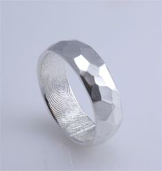 7mm Sterling Silver Hammered Surface Custom Band with Fingerprint Wrapped Inside NOT Oxidized inside