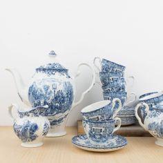 Juego de te inglés en porcelana blanca y azul | Antic&Chic