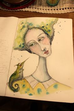 Waterclor lady and her funny friend ...artjournal