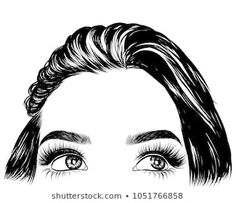 Hand-drawn girl with silky hair andluxurious eye with perfectly shaped eyebrows and full lashes. Idea for business visit card, typography vector.Perfect salon look. - Buy this stock vector and explore similar vectors at Adobe Stock Perfect Red Lips, Perfect Eyebrows, Eyebrows Sketch, Cute Bun Hairstyles, Business Hairstyles, Best Lashes, Sexy Makeup, Longer Eyelashes, Silky Hair