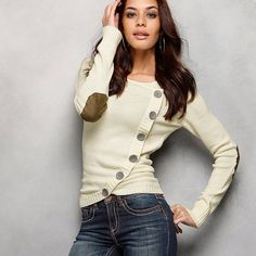 Featuring an innovative design, this stylish jumper looks like a cardigan with its oversized buttons and wrap-around style. Arizona Jumper Features: Elbow patches and a placket Stylish, rounded hem Fitted Washable Cotton, Acrylic Length approx. Arizona, Fashion Forecasting, Layering Outfits, Elbow Patches, Jacket Style, Pull, Dress To Impress, Women Wear, Shopping