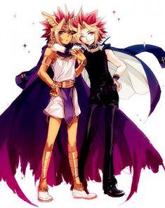 Tags: Anime, Yu-Gi-Oh!, Yami Yugi, Pharaoh Atem, Armband, Armlet, Arm Around Shoulder