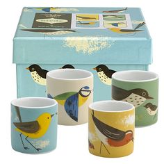 4 Magpie Birdy Egg Cups - From Lakeland