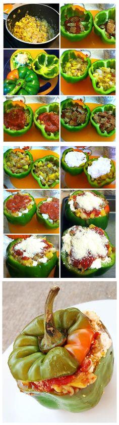 cookglee recipe pictures: Vegetarian Stuffed Bell Peppers : Summer Has Begun!
