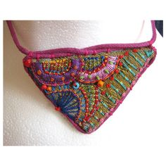 Carla Madrigal/MadrigalEmbroidery - Hand Embroidered Multi-Coloured Triangle Necklace