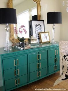 THIS emerald dresser makeover IKEA handles.