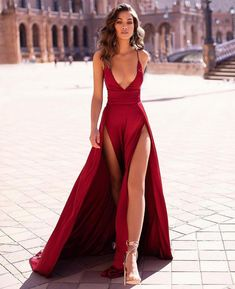 Evening Dress ,Thigh High Slits Sexy Evening Dress Elastic Satin Concise Long Party Gowns Spaghetti Straps Deep V Neck Hot Evening Dresses Inexpensive Prom Dresses, Elegant Dresses, Pretty Dresses, Sexy Dresses, Fashion Dresses, Sexy Long Dress, Prom Dresses With Slits, Sexy Gown, Summer Dresses