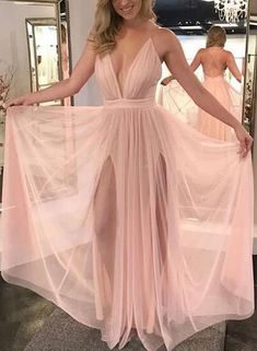 Charming Prom Dress, Sexy Pink Prom Dresses, Deep V Neck Backless Long Evening