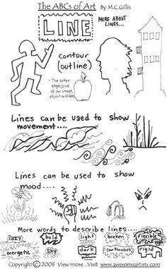 Printable materials on more lines in art and design. Look at URL below:  Http://awesomeartists.com/ART/mTableOfContentsTheABCsOfArt.htm