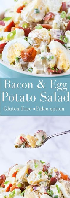 You guys!! This is the BEST Potato Salad with Bacon and Egg recipe ever!! It's loaded with yummy bacon, egg and pickle, so, so good!! | This recipe is gluten free, you can make it paleo and whole30 , full details in the recipe | noshtastic.com