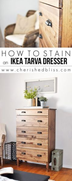 Ikea Hack   How to Stain an Ikea Tarva Dresser