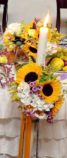 Lumanari nasa cu floarea soarelui Nasa, Wreaths, Table Decorations, Wedding, Sunflowers, Mariage, Door Wreaths, Weddings, Deco Mesh Wreaths