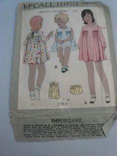 Antique McCalls Pattern 5989 Child's Dress by VintagePatternDrawer, $17.95