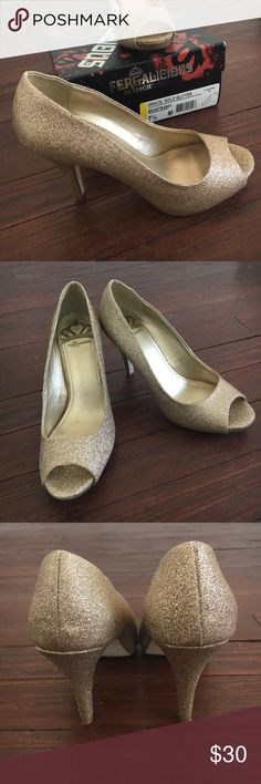 """Gold glitter peep toe heels Glamour! Bought these for my wedding but decided on something different. Very light wear just around the house to break them in (see photos). 4"""" heel. You will love these! Fergalicious Shoes Heels"""