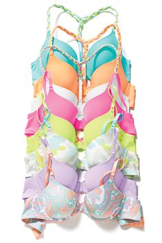 Summer deals at Victoria& Secret in like these fun colorful bras! Come in and shop this look. Pretty Bras, Cute Bras, Pretty Lingerie, Bra Lingerie, Cute Underwear, Inspiration Mode, Victoria Secret Bras, Sexy Bra, Swagg