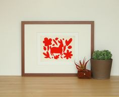 Red Flores Print   BRIKA - A Well-Crafted Life