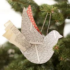 Paper-Bird Ornament. Could do this with sheet music I bet.