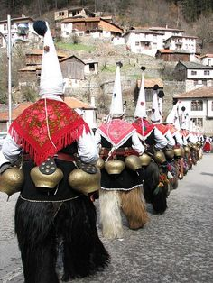 Kukeri festival - Bulgaria: Kukeri - is a traditional Bulgarian ritual to scare away evil spirits, with costumed men performing the ritual. The costumes cover most of the body and include decorated wooden masks of animals and large bells attached to the belt.