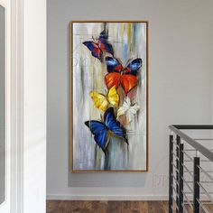Oil painting of abstract butterflies hand painted long size on canvas handmade small abstract butterfly insects - Art Painting Butterfly Painting, Butterfly Art, Mural Art, Acrylic Art, Painting Inspiration, Watercolor Art, Canvas Wall Art, Painting Videos, Painting Tips