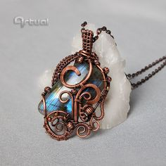 Wire wrapped pendant Labradorite pendant wire wrap jewelry copper jewelry girlfriend gift gemstone necklace copper pendant gift ideas (72.00 USD) by Artual