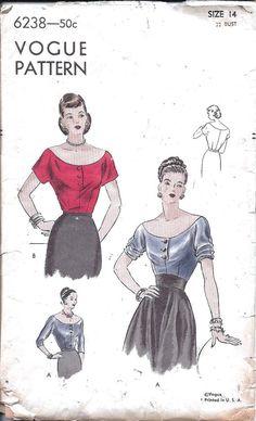 1940s Blouse ~ Vogue 6238
