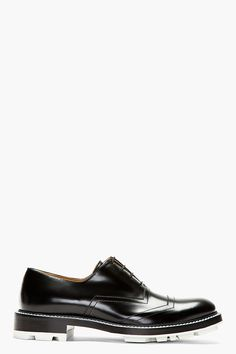 JIL SANDER Black Buff Leather Lace Up Shoes