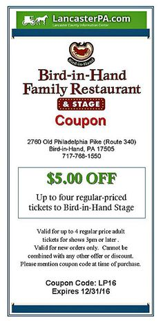 Bird in hand restaurant smorgasbord coupon coupons pinterest bird in hand restaurant stage coupon amish musical fandeluxe Images