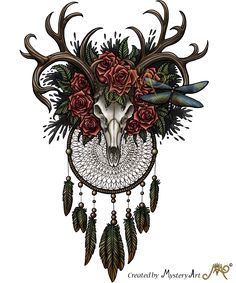 Dreamcatcher skull with colors by Sunima on DeviantArt Dream Tattoos, Badass Tattoos, Future Tattoos, New Tattoos, Cool Tattoos, Bull Skull Tattoos, Bull Skulls, Deer Skulls, Skull Thigh Tattoos