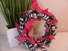 """New 7"""" Pink, Black, and Lime Green Ribbon Decorative Wreath - Great Anywhere!"""