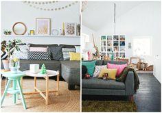 """El color perfecto para el sofá. Para mí, el color perfecto para el sofá del salón es el gris. Un color que encaja con cualquier estilo decorativo y un color del que seguro nunca te vas a cansar. Ya sabéis que yo soy partidaria de que los muebles """"gordos"""" de la casa"""