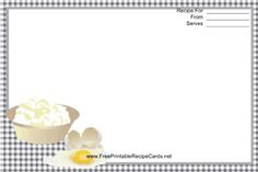 This Eggs Black Gingham Recipe Card features eggs and other ingredients with a black gingham check border. Free to download and print